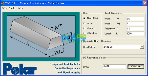 PCB线路电阻计算器(TRC100)