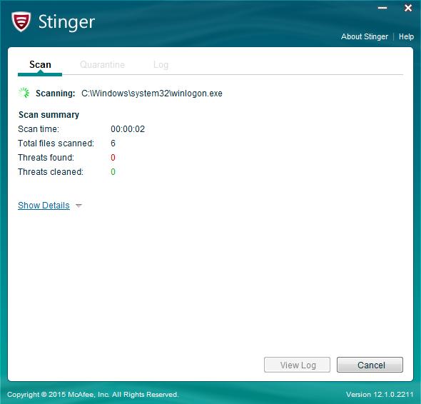 McAfee AVERT Stinger v12.1.0.2211免费版