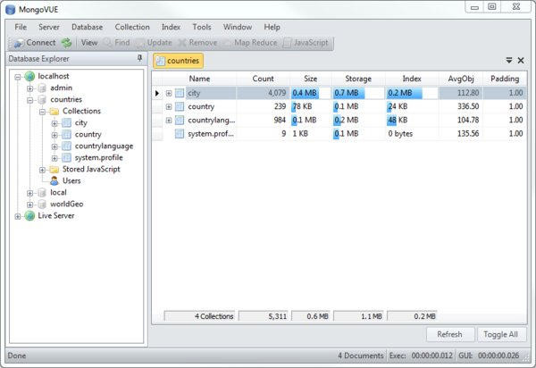 MongoDB客户端MongoVUE 1.6.9绿色版