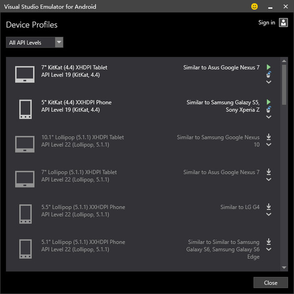 win10模擬器visual studio emulator for android