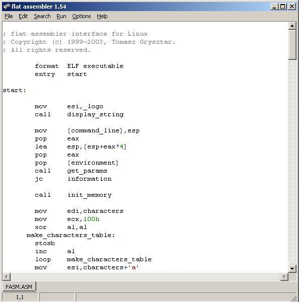 80x86汇编工具(Flat Assembler) 1.70.03绿色版