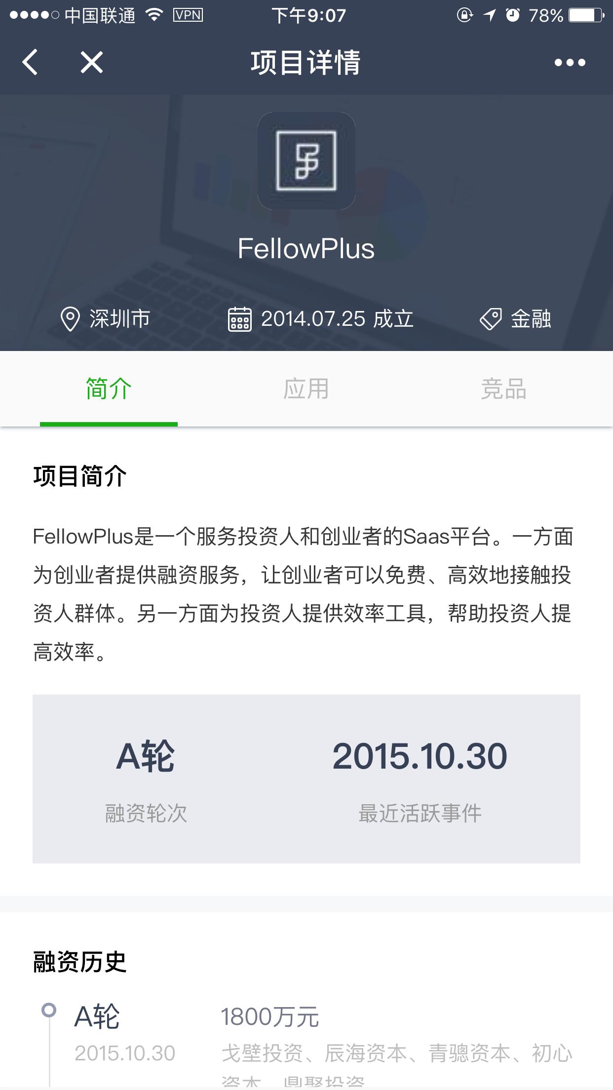 FellowPlus创投数据库小程序