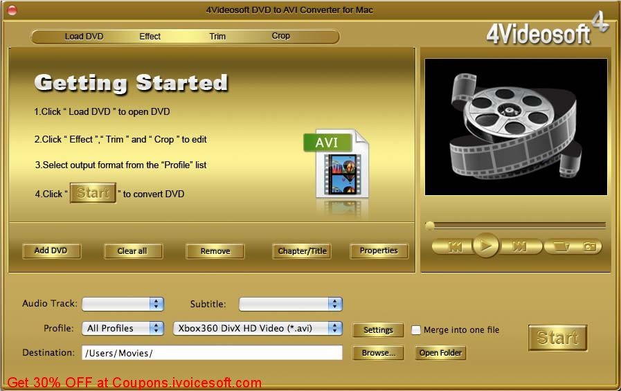 4Videosoft DVD to AVI Converter For Mac 5.2.70