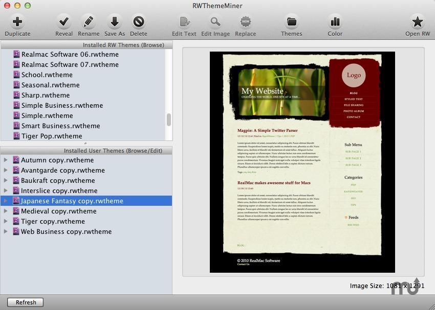 RWThemeMiner For Mac 2.6.8