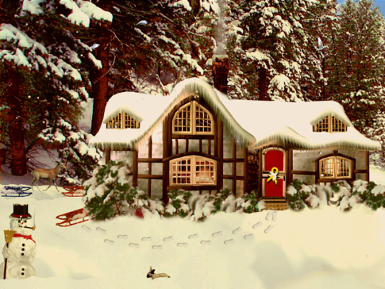 3D Snowy Woodland Cottage