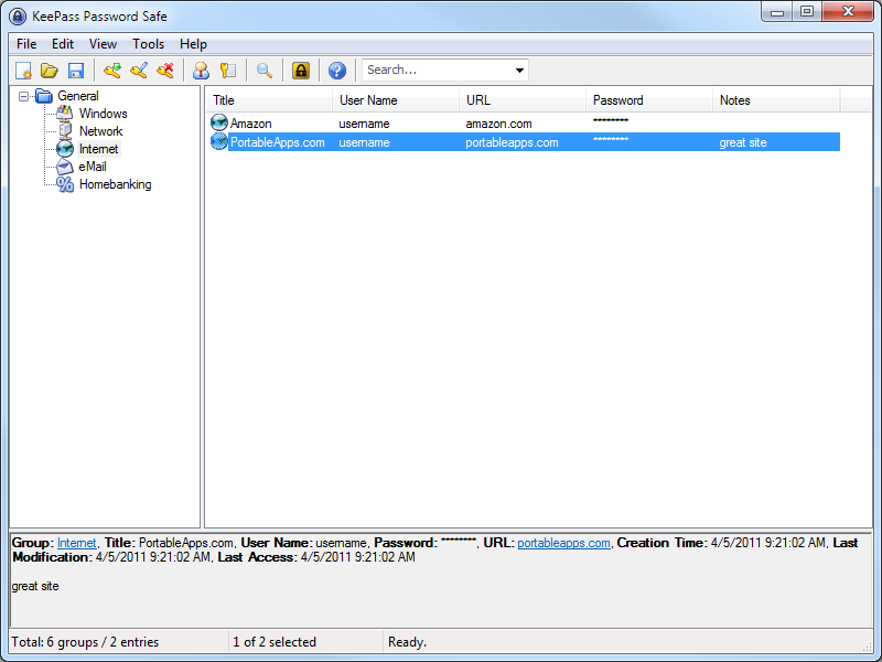 KeePass Password Safe Portable 1.30