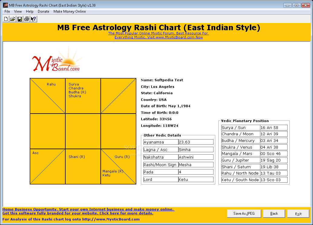 MB Free Astrology Rashi Chart (East Indian Style)