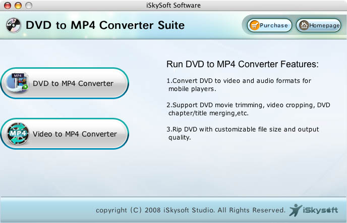 iSkysoft MP4 Converter Suite for Mac