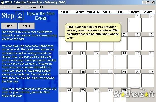 HTML Calendar Maker Pro