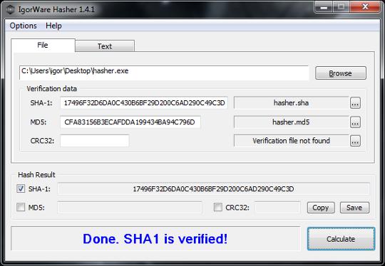 IgorWare Hasher(64bit) 1.7.0