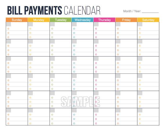 Bills Calendar