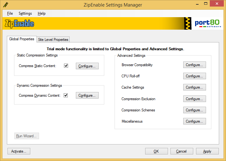Port80 Software ZipEnable For IIS 6.0
