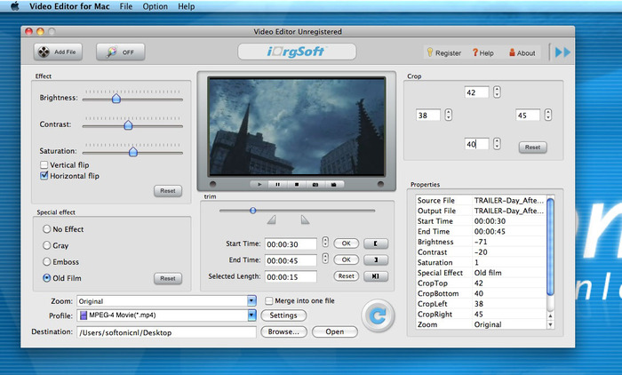 iOrgSoft Video Editor for Mac 5.0.1