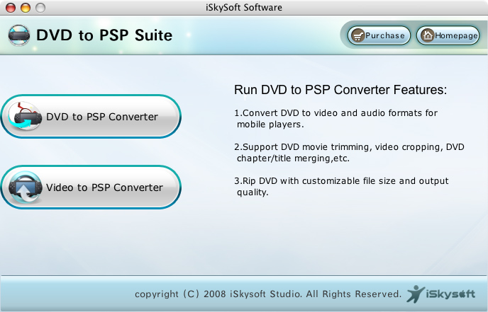 iSkysoft DVD to PSP Suite for Mac