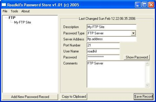 Roadkils Password Store