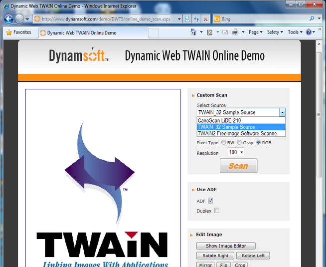 Dynamic TWAIN