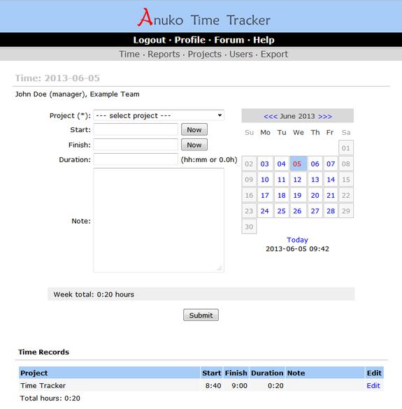 Anuko Time Tracker 1.9.9.3368