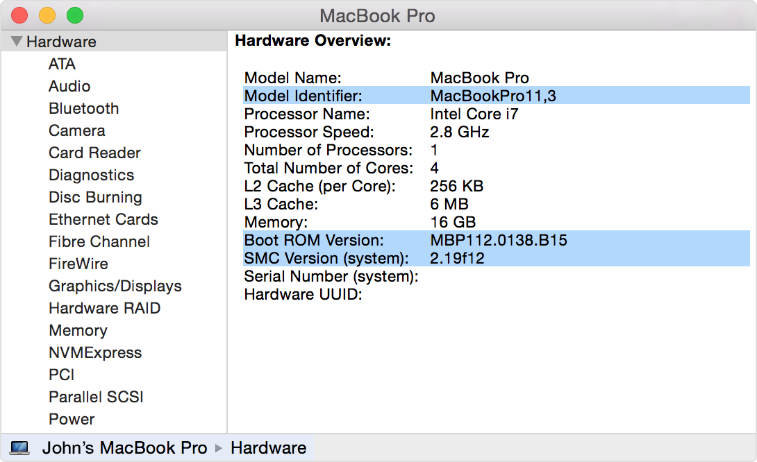 Apple MacBook Pro EFI Firmware Update