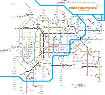这是一副高清的上海地铁规划图,计划了上海市地铁2030年的路线图
