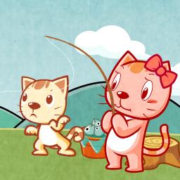 可爱小猫钓鱼...