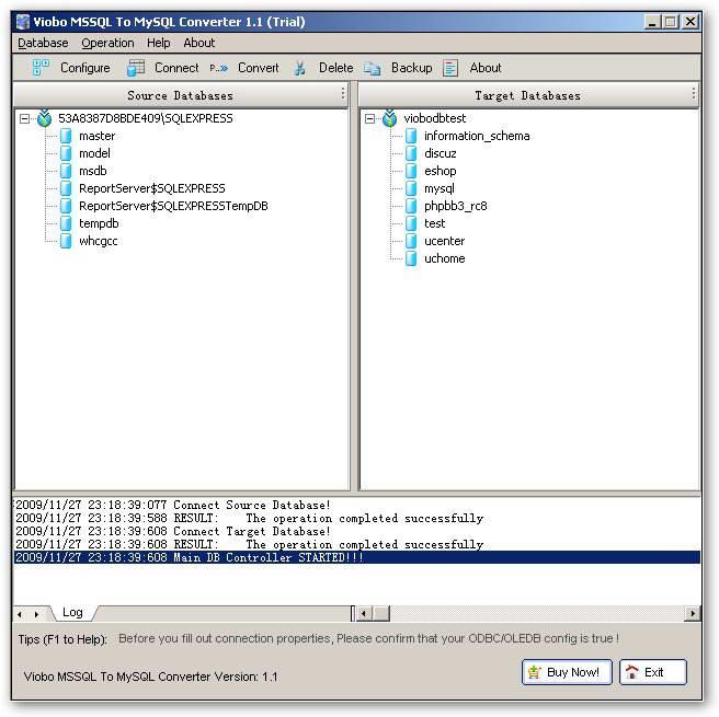 Viobo MSSQL to MySQL Converter截图1