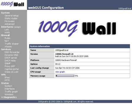 1000GWALL硬件防火墙内核截图1