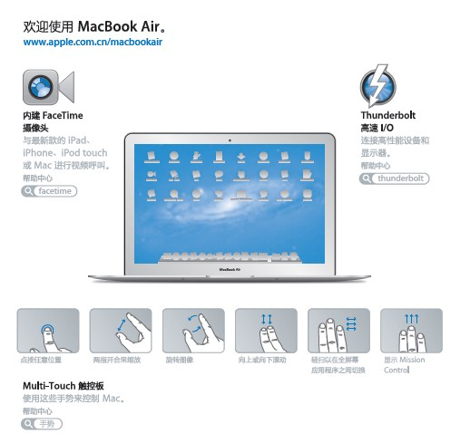 Apple苹果MacBook Air (13 英寸 2011 年中)使用手册截图1