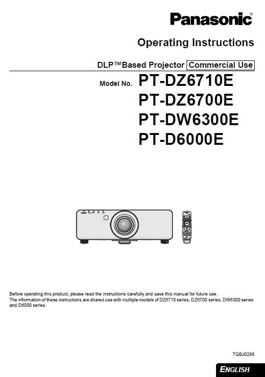 松下 PT-DZ6700E投影机 英文使用说明书截图1