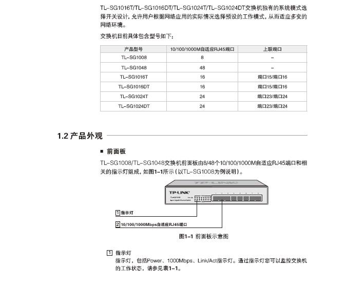普联TP-LINK TL-SG1016DT交换机安装说明书截图1