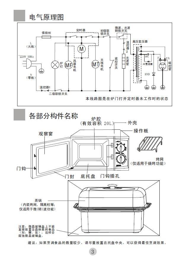 海尔 MZ-2070MGZ微波炉 说明书截图1
