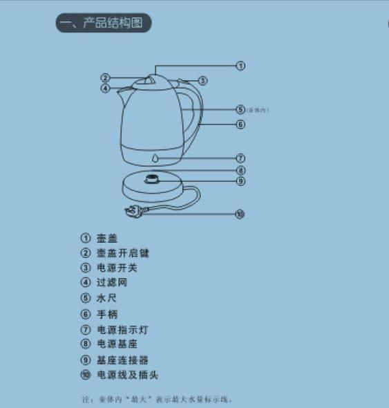 龙的NK-870电水壶说明书截图1