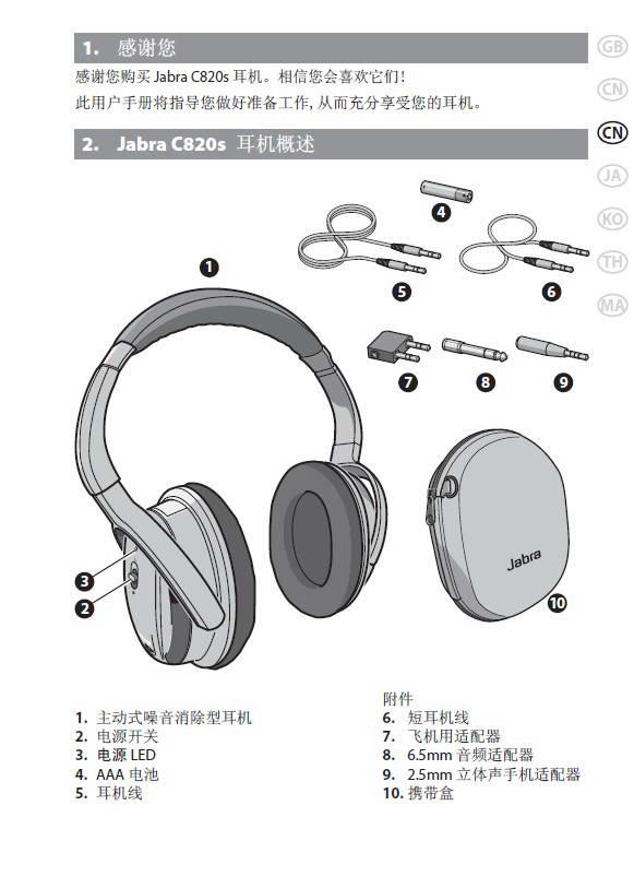 捷波朗C820s蓝牙耳机使用说明书截图1