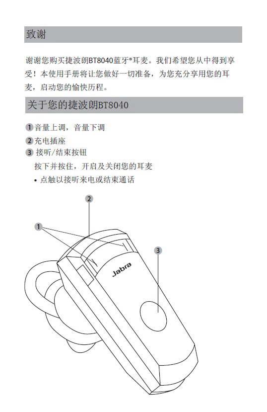捷波朗BT8040蓝牙耳机使用说明书截图1