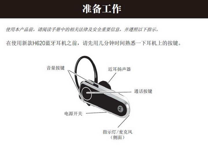 摩托罗拉H620蓝牙耳机使用说明书截图1