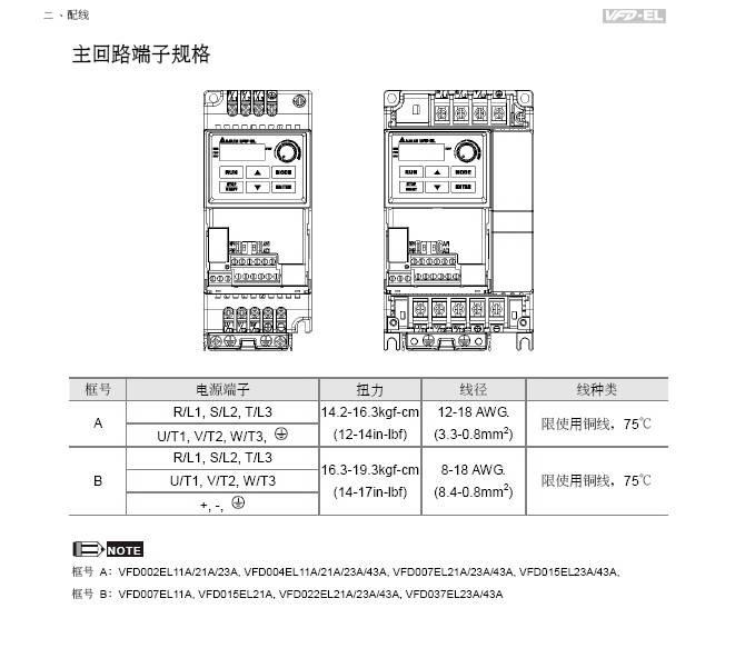台达VFD007EL43A变频器用户手册