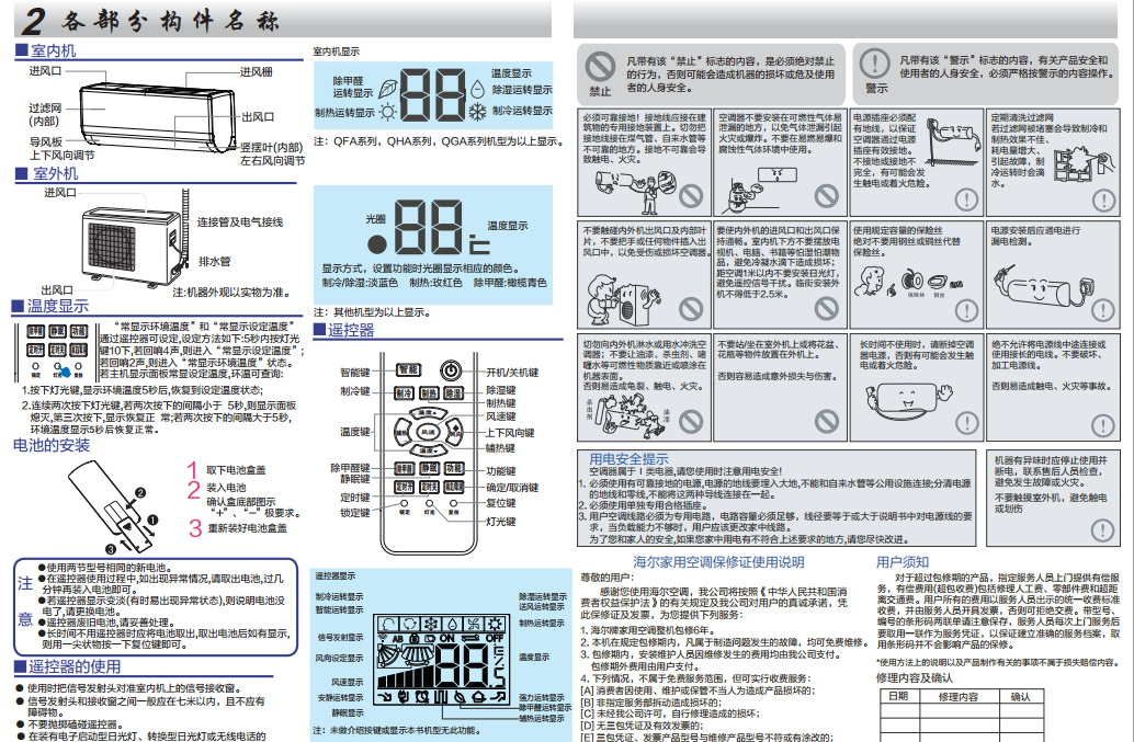 海尔KFR-35GW/09QGA22A家用变频空调器使用安装说明书截图2