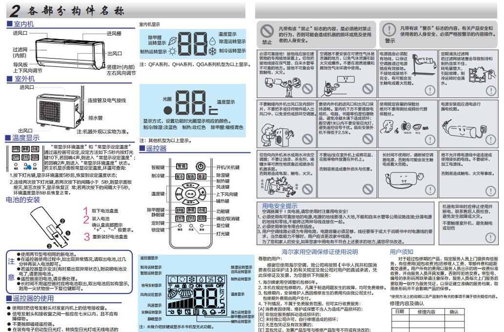 海尔KFR-35GW/09QFA22A变频空调使用安装说明书截图2