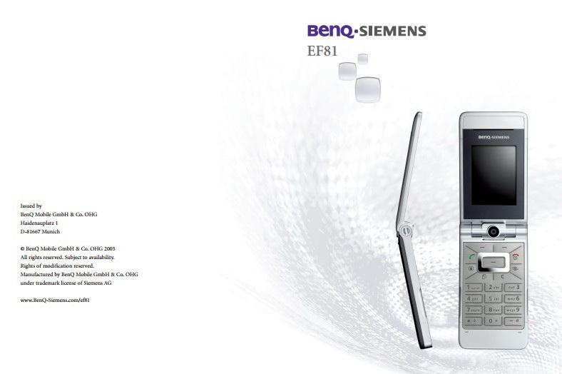 BenQ-Siemens EF81手机使用说明书截图1