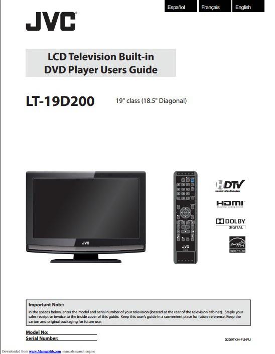 JVC胜利LT-19D200液晶电视使用手册