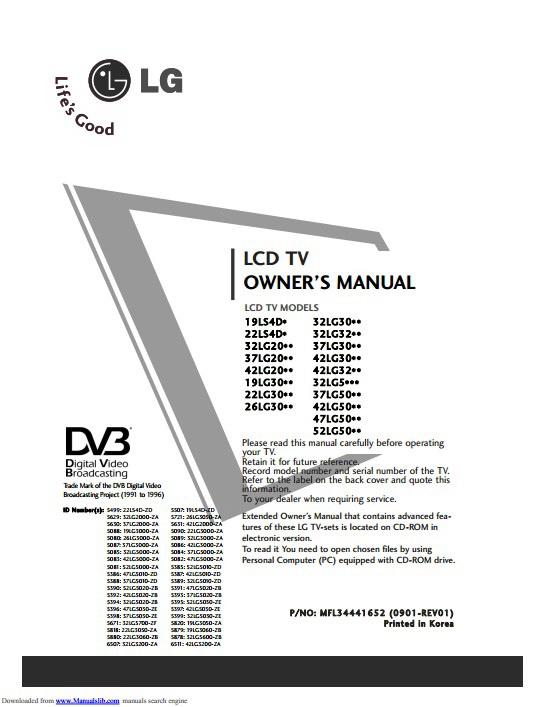 LG 26LG3000-ZA液晶电视用户手册截图1