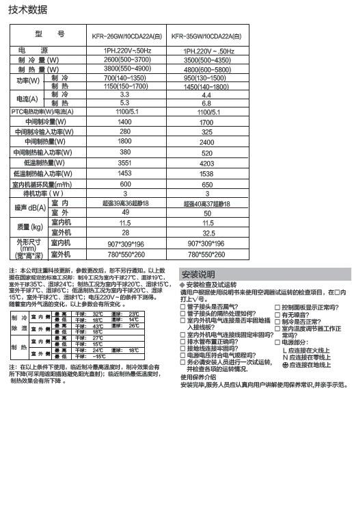 海尔KFR-35GW/10CDA22A空调器使用安装说明书截图2