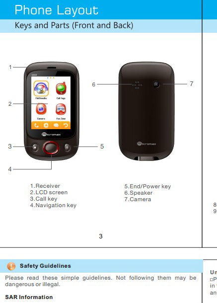 Micromax X222手机说明书截图2