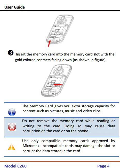 Micromax C260手机说明书