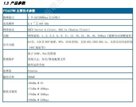 PROCET PT2427WN大功率无线AP用户手册
