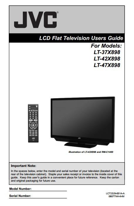 JVC胜利LT-47X898液晶平板电视使用手册截图1