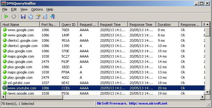 DNSQuerySniffer(32-bit)截图1