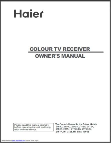 海尔21F5A彩色电视用户手册截图1