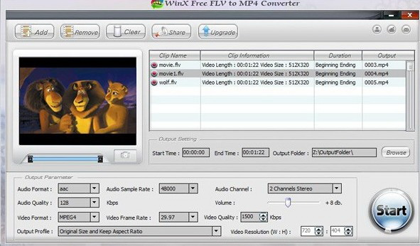 WinX Free FLV to MP4 Converter截图1