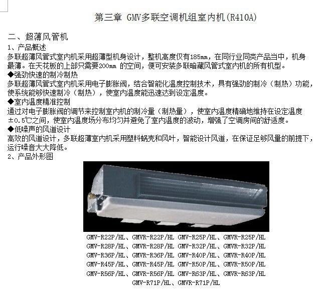 格力GMVR-R71P/HL多联空调机组室内机安装说明书截图1