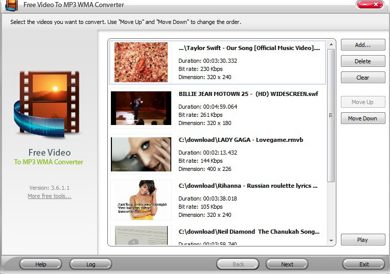 Free Video to MP3 WMA Converter截图1